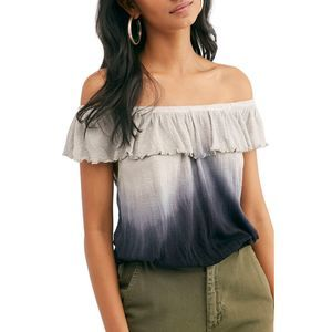 Free People Gray Navy Off Shoulder Ruffle Ombre